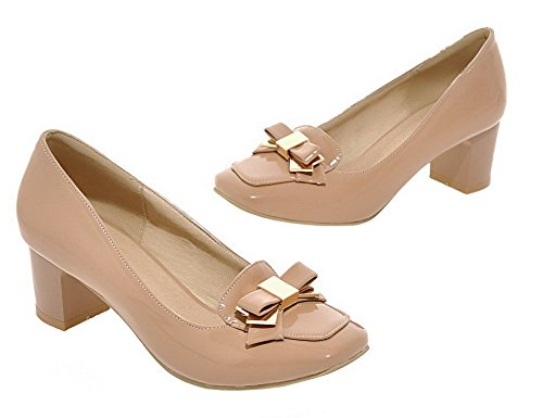 Allhqfashion Femme Close-toe Chaton-talon En Cuir Verni Solide Chaussures-chaussures Abricot