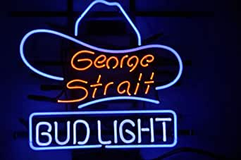 George Strait Bud Light Cowboy Hat Beer Bar Neon Light Sign Real Glass Tube 19'x15'' Handcrafted