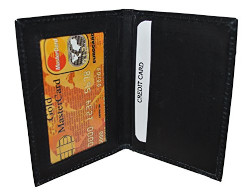 Slim Thin Leather Credit Card Id Mini Wallet Holder Bifold Driver's License (Leather Id Wallet)