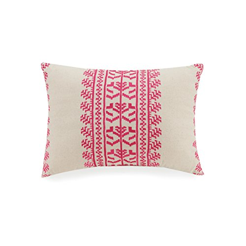 Vera Bradley A754A16PKIEE Lace Embroidered Decorative Pillow, 14 X 20'' Pink Embroidered Pillow