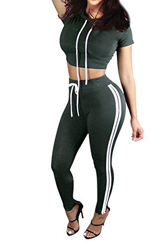 Pink Queen Women Casual Sport Bodycon Crop Top Long Skinny Pant Set Tracksuit,Green,Medium (Tracksuit Set)