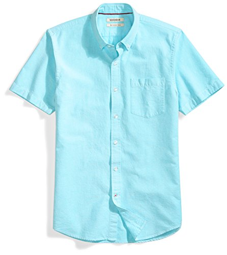 (Goodthreads Men's Slim-Fit Short-Sleeve Solid Oxford Shirt with Pocket, Turquoise, Small )