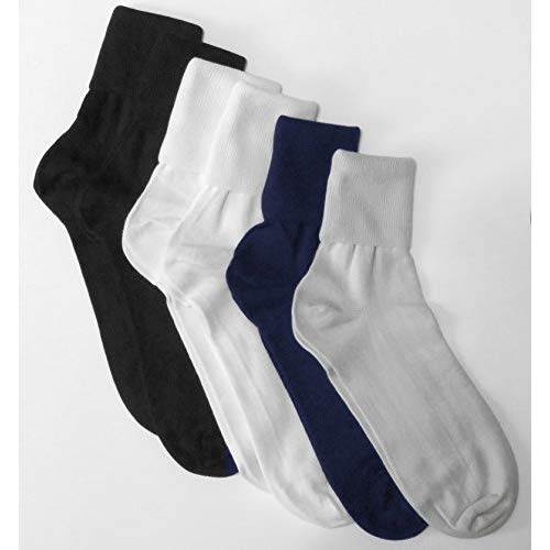6 Pair Women's Assorted Buster Brown Elastic-Free Cotton Socks - Sock Size 11 - Fits Shoe Sizes ()