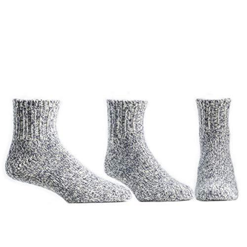 Ballston Quarter 74% Merino Wool Ragg Socks for Cold Weather - 3 Pairs for Men & Women (Denim, L (Fits Men