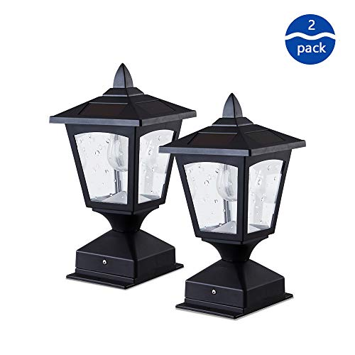 Solar Post Lights Outdoor,Solar Lamp Post Cap Lights for Wood Fence Posts Pathway,Outdoor Post Cap Light for Fence Deck, 4×4 or 6×6 Posts (Pack of 2) (Best Wood For Outdoor Fence)