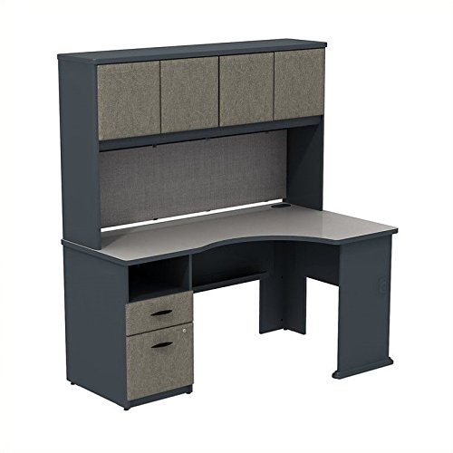 Series A 60W Corner Desk with Hutch and 2 Drawer Pedestal by Bush Business Furniture