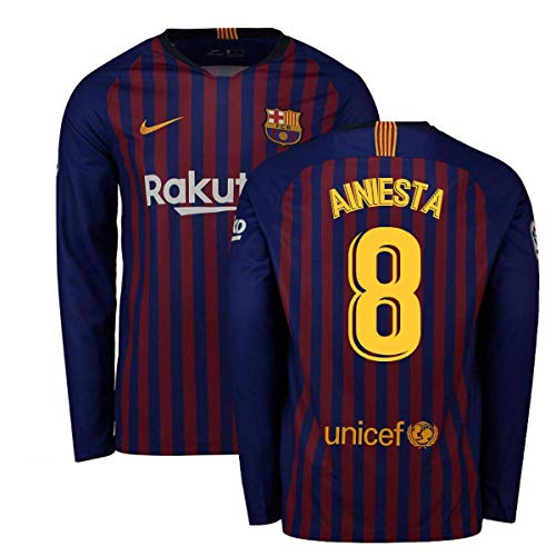 9ee097f42 2018-2019 Barcelona Home Nike Long Sleeve Football Soccer T-Shirt Jersey (Andres  Iniesta 8)