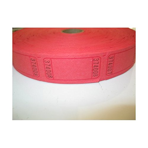 (1 X 2000 Blank Red Single Roll Consecutively Numbered Raffle)