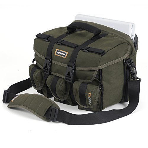 Naneu 115f Grn Sahara Expandable Shoulder Camera Bag with 15.4-Inch Laptop Sleeve (Green) by Naneu