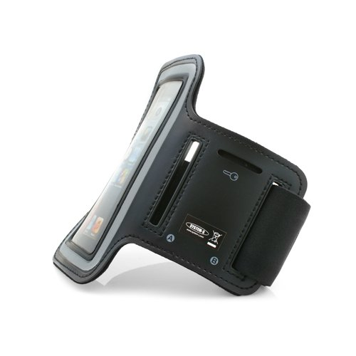 System-S Sport-Armband Sport Fitness Lauf Armband Tasche Hülle Case Oberarmtasche Neopren in Schwarz für iPhone 5 5S 5C