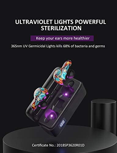 BRYWIN U-Mini Bluetooth Earbuds Equiped with 365nm-Wavelength Lights,Raycon True Wireless Earbuds Waterproof IPX7 Bluetooth Earbuds Wireless Headphones Bluetooth Headphones Fireworks