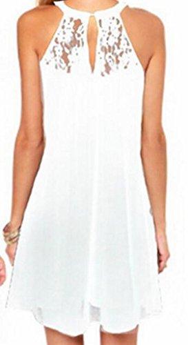 La Mode Cruiize Des Femmes Dentelle Florale T-shirts Occasionnels Robe Blanche