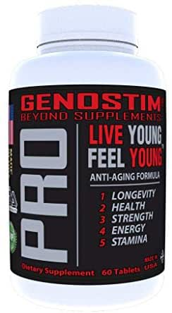 Genostim Pro, Anti-Aging Protein Peptide Supplement -150mg of Isotides Stimulates Hormonal Balance for Accelerated Healing for Athletes and Cellular Rejuvenation for Men and Women - 60 Tablets