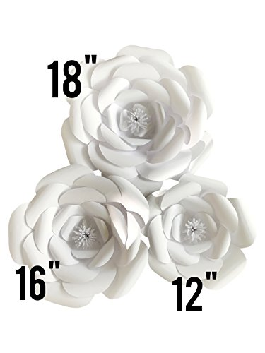 Large Paper Flower Petal Kit - White - 72 Piece Pack - Paper Flowers Decoration - Makes 3 Complete Flowers - DIY Do It Yourself - Rose (white) (Diy Flower Backdrop)