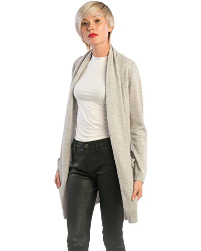 cashmere 4 U 100% Cashmere Open Front Cardigan Coat for Women