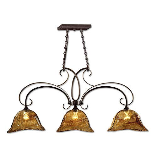 Uttermost 21009 Vetraio 3 Light Kitchen Island Light With Glass Shades Oil Rubbed Bronze