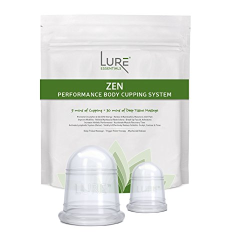 Body Treatment Set - LURE Anti Cellulite Cup Cupping Set Supports Weight and Inch Loss, Fascia and Myofascial Release - EASY to Use Professional Grade - 2 Cups
