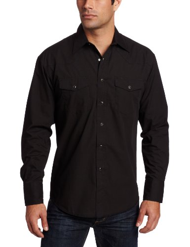 Wrangler Men's Big-Tall Sport Western Snap Shirt,Black,3X