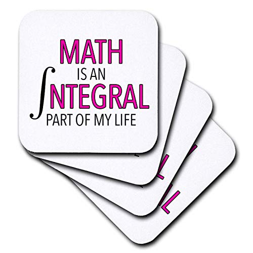 3dRose EvaDane - Funny Sayings - Math Is An Integral Part Of My Life Pink - set of 8 Ceramic Tile Coasters (cst_310824_4) ()