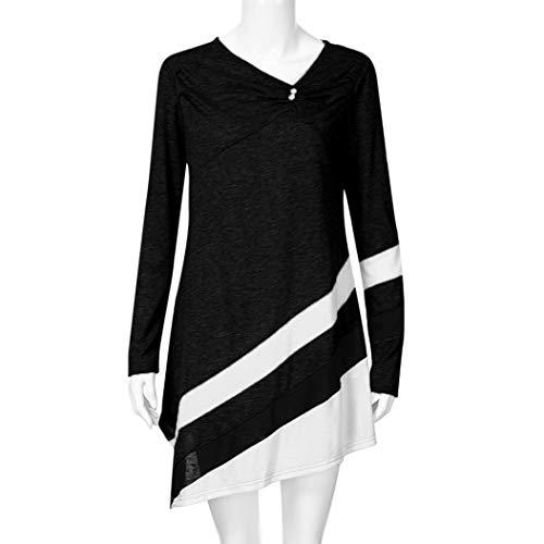 zahuihuiM Nouveau T-Shirt Casual, Femmes Hiver Mode Tops Irrgulier Col en V  Manches Longues Bouton Rayures Blouses Dress Noir