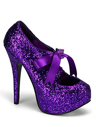 Amazon.com: Purple Glitter High Heel Platform Pump - 6: Clothing