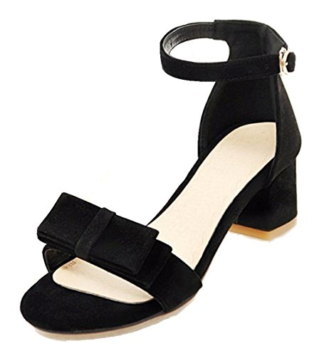 Easemax, Donna, Alla Moda, In Scamosciato E Suede, Cinturino Alla Caviglia Con Cinturino E Sandali Con Tacco Medio Nero