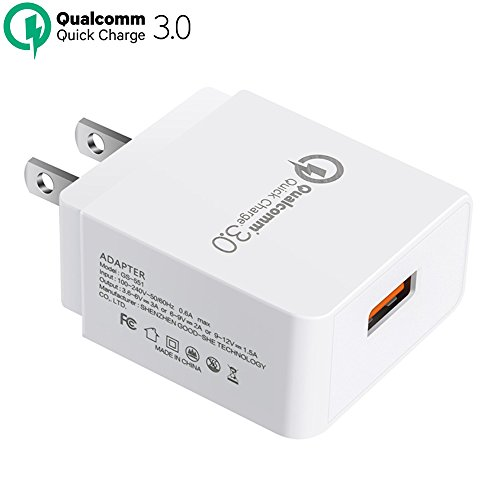 Wall Charger TAKAGI Quick Charge 3.0 (Quick Charge 2.0 Compatible) USB Fast Charging Station Travel Power Adapter for Samsung S7/S6/Note 8, iPhone X/8/7/Plus, Huawei Mate 10, iPad and More (White) (Takagi Wall)