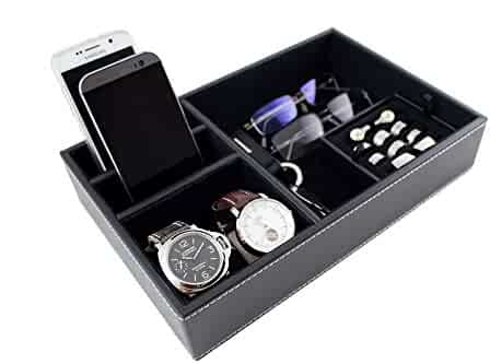 Caddy Bay Collection Black Desktop Dresser Valet Tray Case Holds Watches, Rings, Jewelry, Keys, Cell Phones
