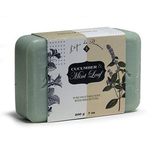 L'Epi de Provence Shea Butter Enriched French Bath Soap - Cucumber Mint Leaf - 7oz. (Cucumber Mint)