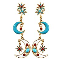 Gnc33Ouhen Fashion Vintage Women Girls Earring Brilliant Multicolor Women Moon Star Long Dangle Stud Earrings Party Jewelry Blue Blue+Golden