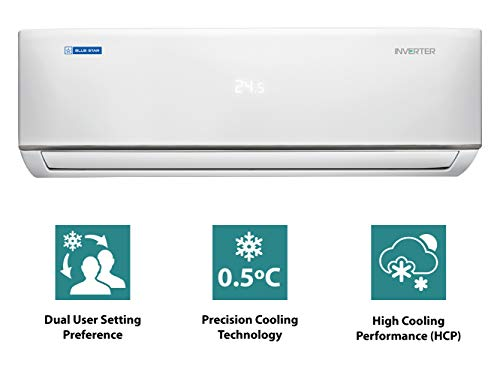 Blue Star 1.5 Ton 5 Star Inverter Split AC (2020 Model, IC518DBTX, White) 2021 August Split AC with inverter compressor:From the boardroom to bedroom, Blue Stars new 5 Star DBTX Inverter Split Air Conditioner adds a touch of luxury to your surroundings and delivers fastest cooling with the maximum energy savings. 1.5 Ton:Suitable for 120-170sq feet Energy Rating: 5 star: , Annual Energy Consumption (as per energy label):841.67units, ISEER Value: 4.6
