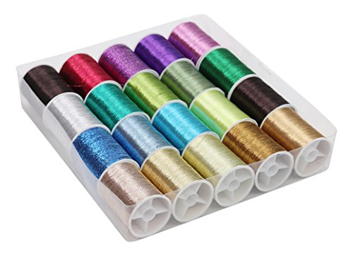 Embroidery Floss - 20 Pcs Polyester Thread 62 m (67.8 yards) Glittery Thread in Assorted Colors for Embroidery, Quilting, Cross Stitch, Crafts - Ideal for Embroidery machine or Hand Needle Work