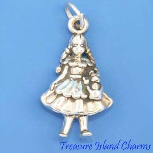 Dorothy Girl and Dog Toto Wizard of Oz 3D 925 Solid Sterling Silver Charm Crafting Key Chain Bracelet Necklace Jewelry Accessories Pendants -