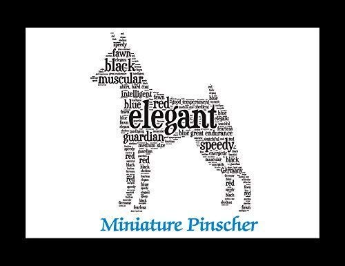 Miniature Pinscher Dog Wall Art Print - Personalized Pet Name - Gift for Her or Him - 11x14 matted - Ships 1 Day