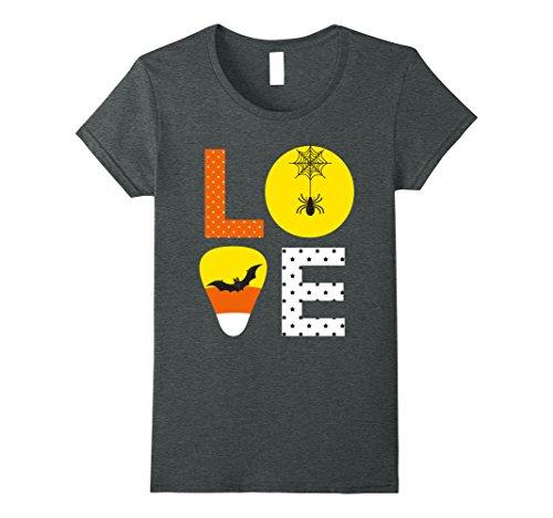 Womens Love Halloween Candy Corn Shirt Bat Spider for Kids Teacher Small Dark Heather