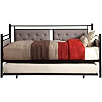 Homelegance Octavia Urban Styling Metal Daybed with Trundle and Button Tufted Gray Fabric Panel Inserts, Black, Twin