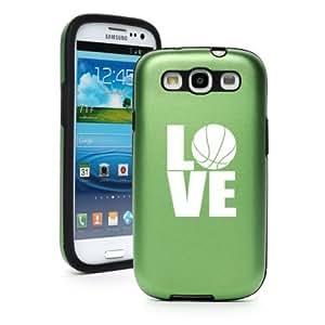 Green Samsung Galaxy S III S3 Aluminum & Silicone Hard Case SK319 Love Basketball