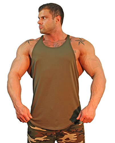 (Physique Bodyware Mens Y Back Stringer Tank Top. Built in America (XX-Large, Militant Green) )