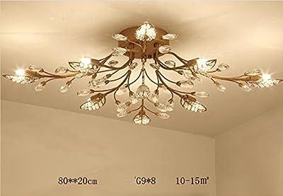 Diy FamilyModern Crystal LED Ceiling Lamp?Leaf Flush Mount Ceiling Light Fixture Decorative Crystal Chandelier For Dining Room Bedroom Livingroom Pendant Light (Gold 8 heads)