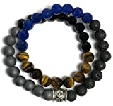 KarmaArm Success: Black Onyx | Hematite | Tigers Eye | Lava Stone | Sapphire Beaded Reiki Yoga Chakra Bracelet, Meditation Jewelry Boho Stretch Bracelets (7.5)