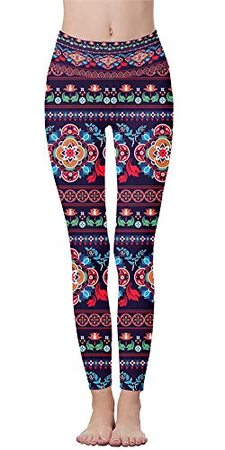 - Women Wide Waist Band Full Length Leggin Floral Printing Ladies Tummy Control Pencil Pants (Minorities 2, XX-Large (Waist 35
