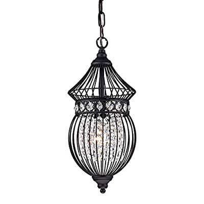 Black Chandeliers Crystal Chandelier Lighting Farmhouse Lighting Fixtures 1 Light 17045 - 【Recommended Room】Industrial chandelier is good for a space 60 sq ft to 120 sq ft ; Ideal for restaurant /café/foyer /stairway/ villa/dinning room. . 【Simple Assembly and Easy Install】This black mini chandelier is hard wired , 120VL. You just need to hand up the crystal steels.Installation instructions and all mounting parts are in the package. 【Bulb and Source Type】Farmhouse chandelier need 1 x E26 base 100W Bulb (not include). Compatible with a variety of incandescent, LED, CFL and halogen bulbs. It can compatible with dimmer. - kitchen-dining-room-decor, kitchen-dining-room, chandeliers-lighting - 414 LkTigOL. SS400  -