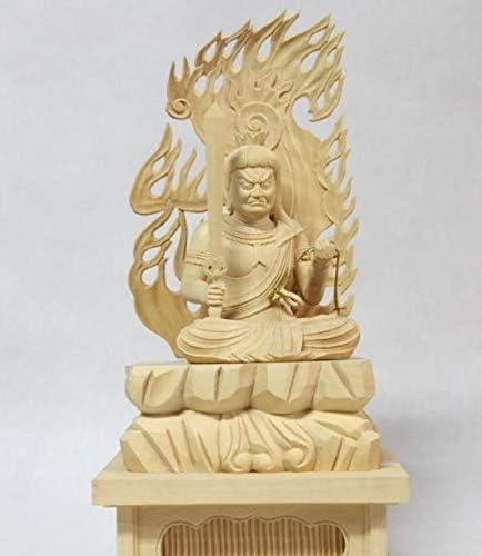 MD311珍しいです品明王不動明王 座像 火炎光背 四角岩台 高級木彫 コレクション。