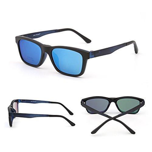Azul Retro Negro Anteojos Magnético Polarizadas en Sol Mujer Marco de Polarizado TR Hombre Clip Mate Gafas Ewq76FgH