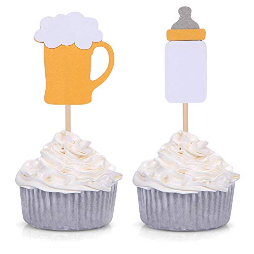 Baby Bottle and Beer Mug Cupcake Toppers For Men's Baby Shower Party Set of 24