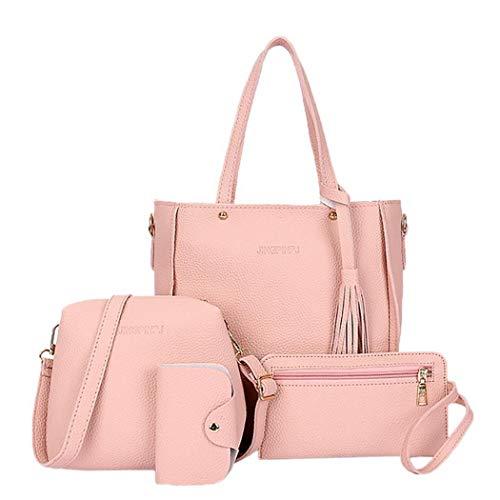 Oguine Women Shoulder Bags Set, 4 Pcs/Set Women Fashion Leather Zipper Handbag Solid Shoulder Messenger Bag Purse (4 Colors)