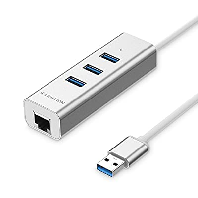 LENTION 3-Port USB 3.0 Hub with Ethernet Network Adapter for iMac, MacBook Air, MacBook Pro, Surface, PC, USB Flash Drives and Other Devices with USB Type A Port (Silver)