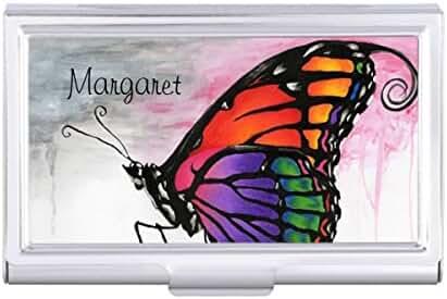 Rainbow Monarch Butterfly Original Fantasy Art Card Holder Case