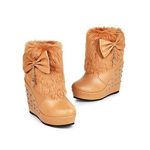 AdeeSu Ladies Spun Gold Bowknot Fur Collar Rivet Platform Imitated Leather Boots Yellow Bmjf66v