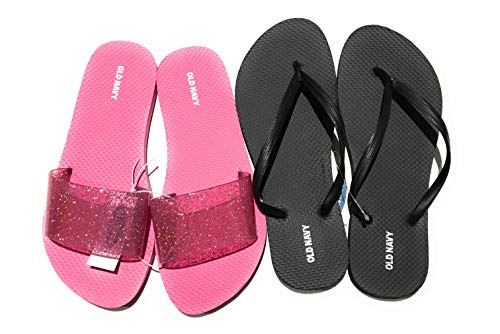 Old Navy Flip Flop Sandals for Woman, Great for Beach or Casual Wear (9, Pink Glitter Jelly Slide and Black)
